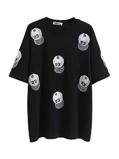 S&RL T-Shirt da Donna a Manica Corta in Hip-Hop Strana Ragazza Selvaggia Stampata Camicia da Perforazione Calda, Nero, m