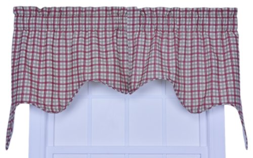 [Ellis Curtain Bristol Collection Two-Tone Plaid Empress 2-Piece Lined Swag Curtain Set, Red] (Swag Plaid Curtain)