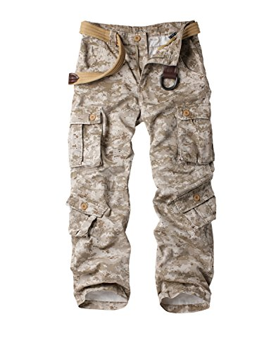 Must Way Men's Cotton Casual Military Army Cargo Camo Combat Work Pants with 8 Pocket Desert Camo 32