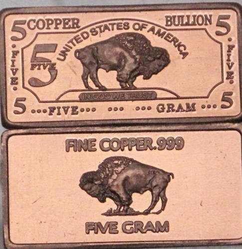 5 Gram Copper Buffalo Bar