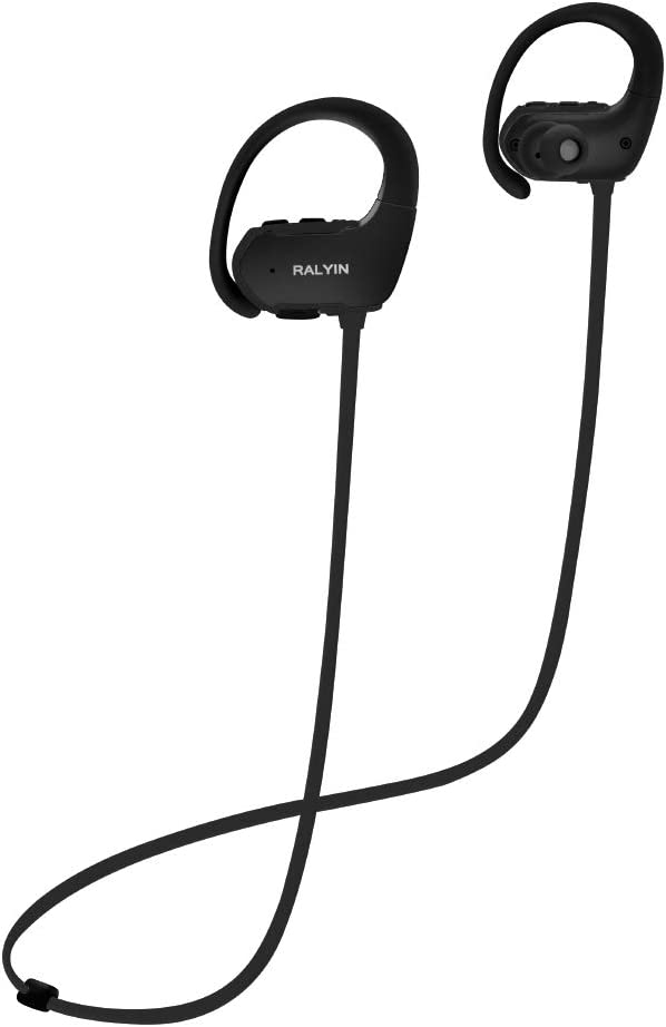 Ralyin Bluetooth Headphones with Mic Sport Wireless Earbuds Built in Microphone Ear Hook Headset for Running Jogging Gym Workout Sweatproof Earphones Cordless Audifonos 8 Hours Play Time Black