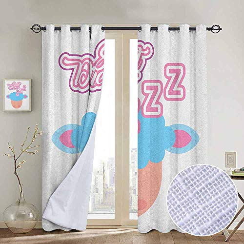 NUOMANAN Thermal Insulated Blackout Curtain Sweet Dreams,Cute Cartoon Style Sleeping Animal Childhood Kids Nursery Theme, Pink Pale Blue and Peach,Blackout Draperies for Bedroom Living Room 52