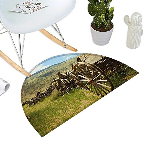 Barn Wood Wagon Wheel Semicircle Doormat Line of Antique Carriages in Rural Village Farm and Hills Halfmoon doormats H 35.4