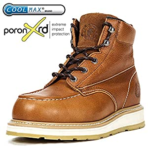 ROCKROOSTER Work Boots Men, Soft/Steel Toe, Safety Water Resistant Leather Shoes