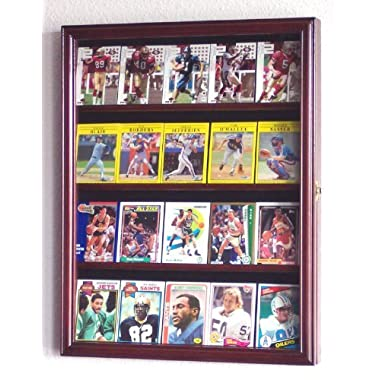 Sport Collectible Card Display Case Cabinet Holder Wall Rack -Cherry
