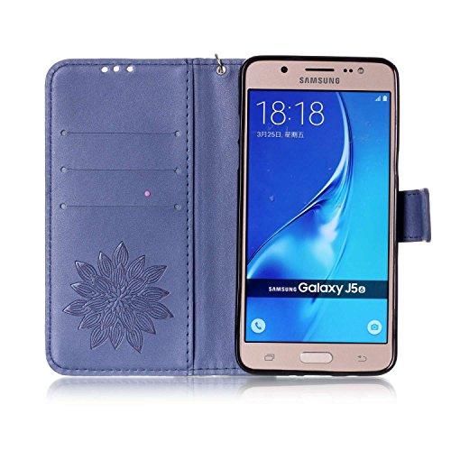Funda de piel tipo libro para smartphone Samsung Galaxy J5(2016) J510, con tarjetero y función atril, cierre magnético + tapón antipolvo 1 3