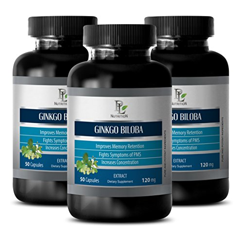 Damiana Leaf Extract (Stomach health - GINKGO BILOBA LEAF EXTRACT 120MG - Ginkgo biloba for memory - 3 Bottle 150 Capsules)