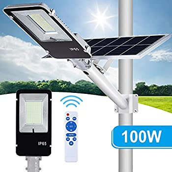 Image of 100W Solar Street Flood Lights,APONUO Outdoor Street Light 5000 Lumens Solar Powered Flood Lamp with Remote Control High Brightness Dusk to Dawn for Yard, Driveway, Swimming Pool, Basketball Court, St Street & Area Lighting