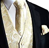 Men's 3pc Paisley Design Dress Vest Tie Handkerchief Set For Suit or Tuxedo (M (Chest 42), Beige)