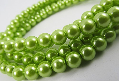 Glass Pearl Finish Round Large Big Beads Spring Green for Handmade Jewerly Necklace Bracelet Beading Supplies faux pearls TOP quality C29 (14mm)