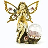 Fairy Solar Garden Light with Color Changing LED Crackled Glass Globe