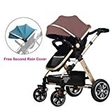 2016 New Style! Summer Deal! H&A 3in1 Luxury City Select High View Anti-Shock Folding Baby Stroller,Travel System Infant Carriage Buggy Bassinet,FREE Second Blue Canopy (Blue&Khaki), Golden Frame