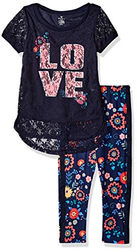 (One Step Up Girls' Big 2 Pc Knit Top and Legging Set, Navy Lace 10/12)
