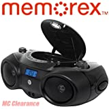 Memorex Portable Boombox Sport MP3851 CD Player with AM/FM Radio and Digital Display + Aux-in Input & Headphone Jack (Refurbished)