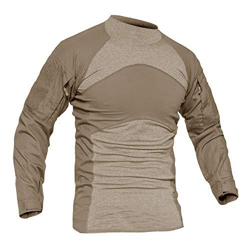 Shirts Khaki Military (MAGCOMSEN Thermal Shirts Long Sleeve Tactical T Shirt Men Slim Fit Army Shirts Military Shirt Combat Shirt with Pockets Khaki)