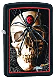Zippo Mazzi Skull and Spider Pocket Lighter, Black Matte