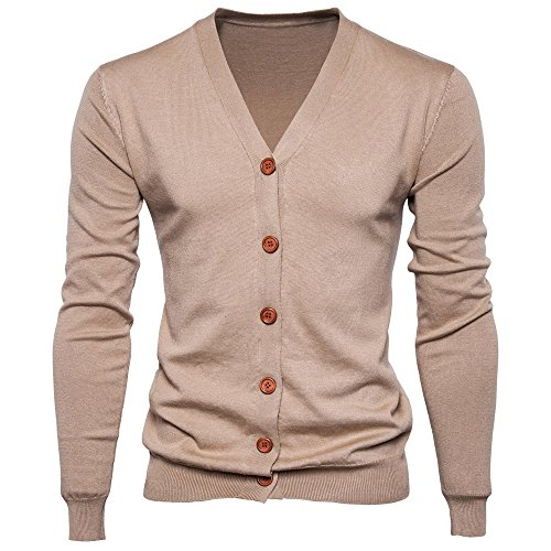 - iYYVV Mens Button Down V Neck Long Sleeve Knit Sweater Cardigan Coat Tops