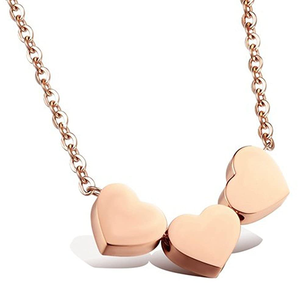 Rose Gold Plated Titanium Steel Heart Pendant Necklace AmaranTeen