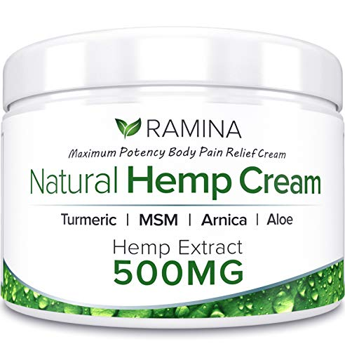 Natural Hemp Extract Pain Relief Cream - 500 Mg - Hemp Salve Contains Turmeric, MSM & Arnica - Relieves Inflammation, Muscle, Joint, Back, Knee, Nerves & Arthritis Pain - Made in USA - Non-GMO