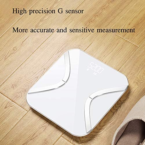 WFDG Weighing Body Grease Scale, Tempered Glass, Easy To Read Digital Display, Human Household Scale, Smart APP For Fitness Tracking, White