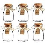 Amajoy barattoli in vetro con tappo in sughero per bomboniere, con bigliettino in carta e spago, ideali per bomboniere matrimonio, come vasetti per miele, confezione da 16 pezzi