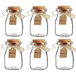 Amajoy 16pcs Glass Favor Jar with Cork Lids,Escort Card and Twine Wedding Favor Party Favor Glass Bottles Honey Pot Bottles (100 ML,3.4OZ)