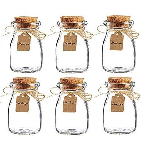 Tarros de cristal AmaJOY con tapas de corcho, cordel y tarjetas de ubicación, para recuerdos de la boda, 16 unidades: Amazon.es: Hogar