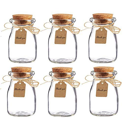 Amajoy 16pcs Cork Jar Decorative Jars Glass Favor Jar with Cork,Escort Card and Twine Wedding Favor Party Favor Glass Bottles Honey Pot Bottles (100 ML,3.4OZ)