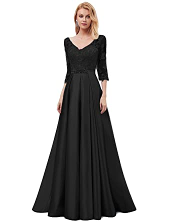 07fb432af56 OYISHA Women s Long Lace Evening Dresses with 3 4 Sleeve Formal Beaded Satin  A-
