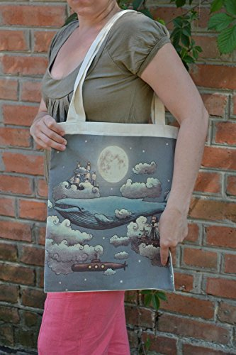 Handmade Designer Women's Fabric Bag With Image Of Whale Swimming In The Sky ()