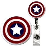 Captain America Inspired Symbol Real Charming Premium Decorative ID Badge Holder (Belt Clip HD)