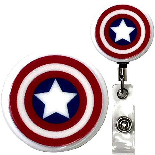 Captain America Inspired Symbol Real Charming Premium Decorative ID Badge Holder (Belt Clip HD) by Real Charming