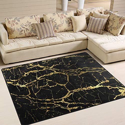 Black Marble Texture Area Rug 5'x 7', Educational Polyester Area Rug Mat for Living Dining Dorm Room Bedroom Home -