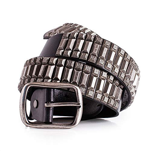 Super Cool Metal Studded Punk Rock Leather Belt 1 1/2'' Width (40) ()