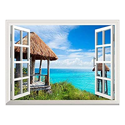 Dazzling Expert Craftsmanship, Removable Wall Sticker Wall Mural Beautiful Travel Holiday Resort Creative Window View Wall Decor, Quality Creation