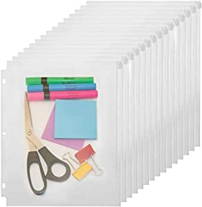 "YoeeJob 3 Holes Clear PVC Zipper Binder Pocket Insert Pages Letter Size, 8 1/2""x 11 Loose Leaf Binder Filing Storage Bags 15 Per Pack"