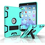 iPad Pro 9.7 Shockproof Case, Rubberized Armor Military Protection Shockproof Shell With Stand For iPad Pro 9.7 & iPad Air 2 - DUAL COLOR (TEAL/BLACK)