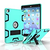 iPad Air 2 /iPad 6 Case,SinYong Soft Hard Hybrid Dual Layer Armor [Shock-Absorption] Kickstand Protective Smart Cover Case for iPad Air 2/iPad 6th Generation (mint green+Black)
