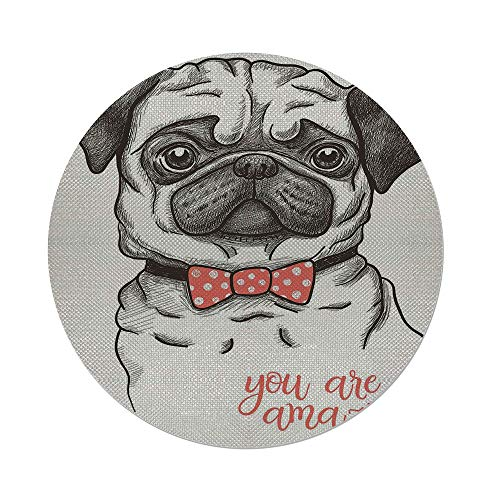 - iPrint Cotton Linen Round Tablecloth,Pug,Portrait of Dog Cartoon Style Bow Tie on a Pug Pet Fun Comedic Image Fashionable Animal,Black Red,Dining Room Kitchen Table Cloth Cover