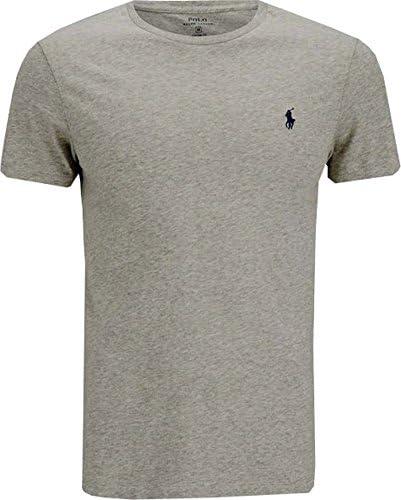 T shirt pour homme Ralph Lauren à manches courtes Taille S, Taille M, Taille L, Taille XL, Taille XXL, encolure ras du cou, Coton, gris, Small