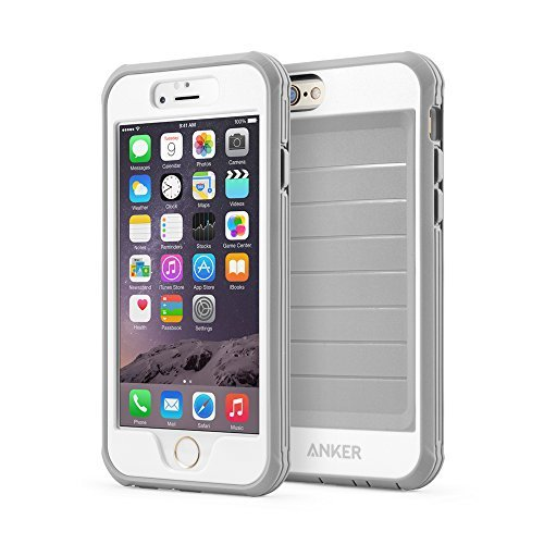 Price comparison product image iPhone 6s Case,  Anker Ultra Protective Case With Built-in Clear Screen Protector for iPhone 6 / iPhone 6s (4.7 inch) ,  Dust Proof Design (Gray / White)