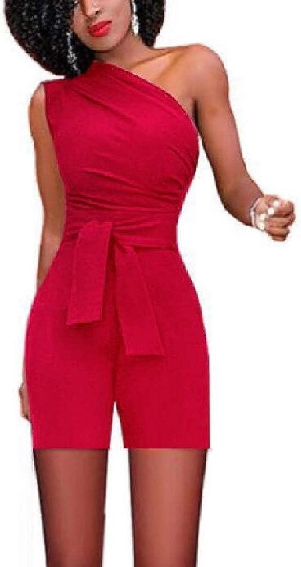 UUYUK Women Belted Skinny Slash Neck Stylish Solid Short Jumpsuit Romper