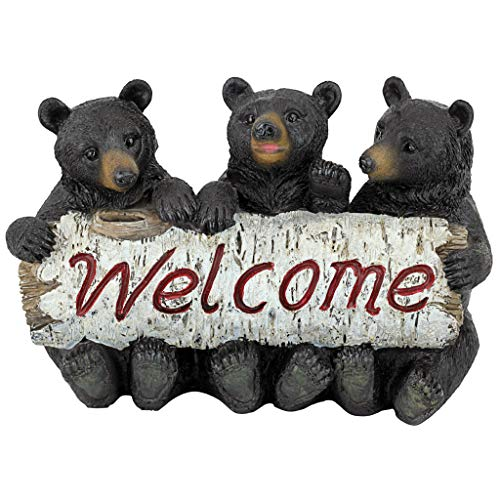 Design Toscano Black Bear Cubs Welcome Statue (Bear Statue Welcome)