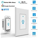 Smart Wifi Light Switch - 2 Pack, with Timer Compatible with Alexa Phone APP Remote Multi-person Control No Hub Required, Echo Google Assistant iOS Android Smart Light Switch - New APP: Smart Life