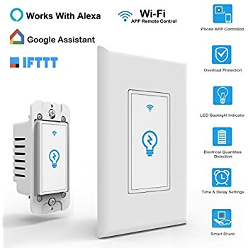 smart switch works with alexa in wall light switch mobile phone app remote alexa control. Black Bedroom Furniture Sets. Home Design Ideas