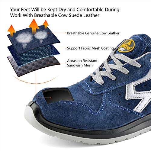 SAFETOE Mens Safety Shoes Steel Toe Shoes -[ASTM Approved] Lightweight Leather Safety Work Shoes for Heavy Duty Construction Work Wide Fit Safety Sneaker Non Slip