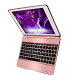 New iPad 9.7 iPad Pro 9.7 Keyboard Case,Sounwill Folio Smart Case Protective Cover with Keyboard For iPad Air,iPad Air 2,iPad Pro 9.7 and 2017 New iPad 9.7 (Rose Gold)