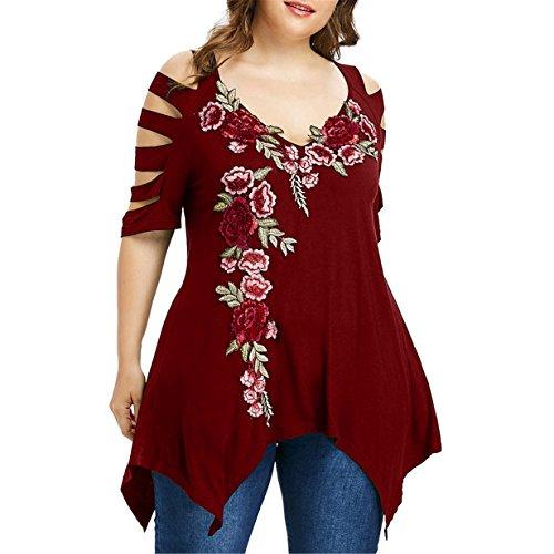 ▼Londony▼ Plus Size Tops, Flower Embroidery Cut-Out Shoulder Short Sleeve Asymmetrical Hem Blouse Oversized Shirt