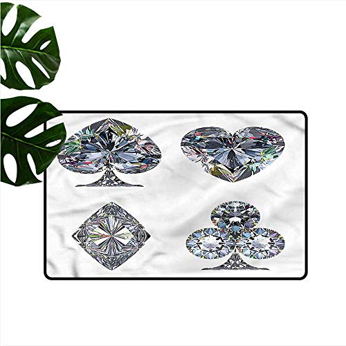 HOMEDD Indoor Doormat,Diamond Heart Shaped Diamonds,Bathroom mat,24