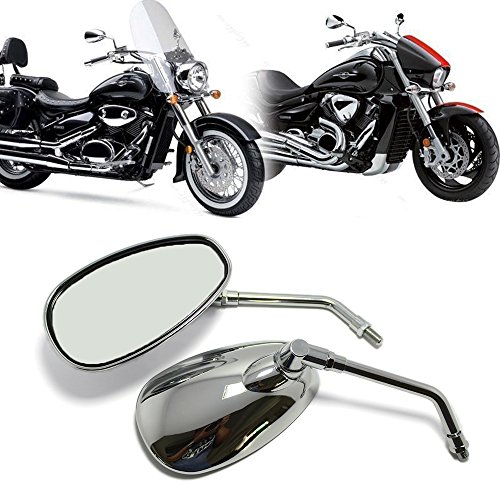 Suzuki Mirror (MOTORCYCLE CHROME REARVIEW SIDE MIRRORS FOR KAWASAKI SUZUKI CHOPPER SCOOTER 10MM)